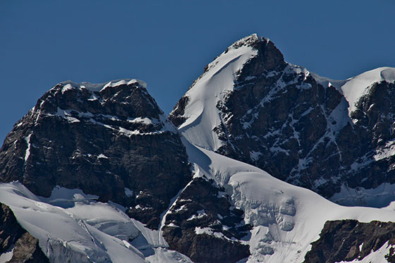 The Jungfrau South Face   We can see the climbers' tracks left behind in the snow