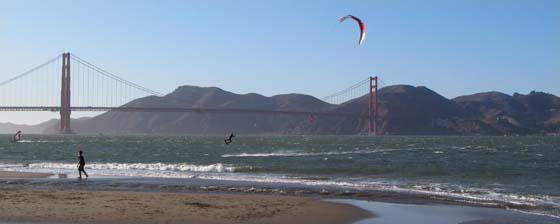 Kitesurfers & Windurfers at Crissy Field, San Francisco