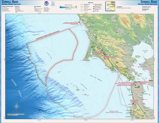 Map of the Cordell Bank National Marine Sanctuary   Public domain image   Source is NOAA, National Marine Sanctuaries