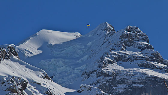 Hot air balloon above the Jungfrau   February 2013