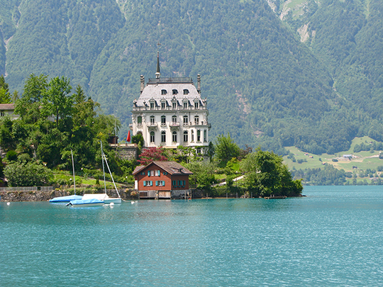 Iseltwald Seeburg Castle   then owned by the Evangelischer Diakonieverband Ländli   Lake Brienz   June 2014