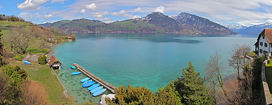 Lake Thun panorama   viewed from Spiez   April 2013