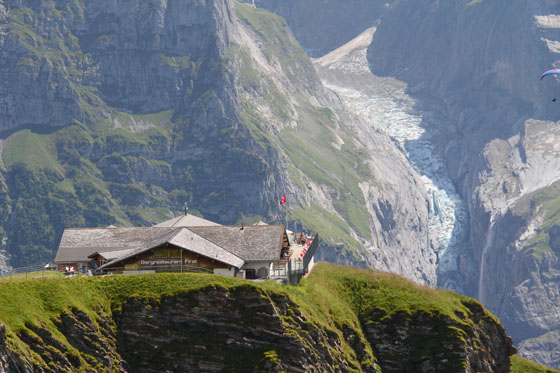 Restaurant in First    Oberer Grindelwaldgletscher in the background   August 2011