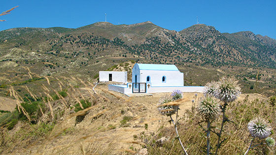 Arriving at the remote chapel somewhere above Kardamena
