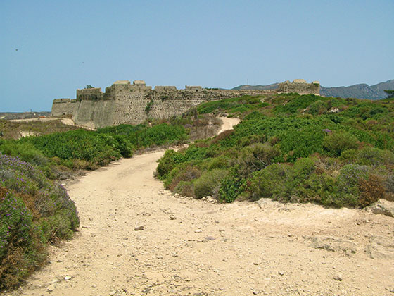 Trail leading to the castle of Antimachia (also spelled Antimahia)