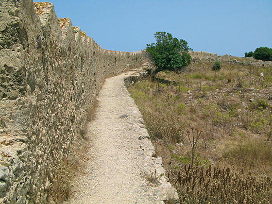 Inside the ramparts of the castle of Antimachia