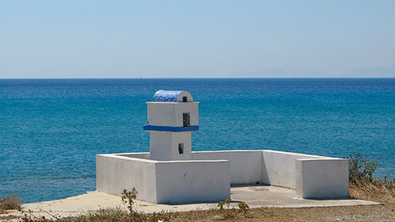 Tiny chapel on the shoreline, half way between the Mitsis Blue Domes and Kardamena   near the church of Aghia Varvara