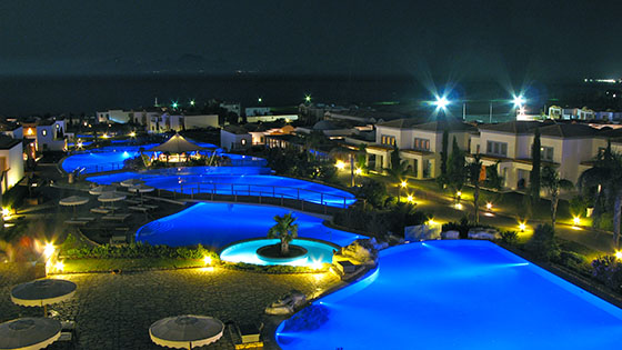 Night view of the Mitsis Blue Domes Hotel