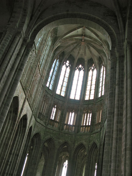 Gothic choir of the abbey connected to the older roman structure