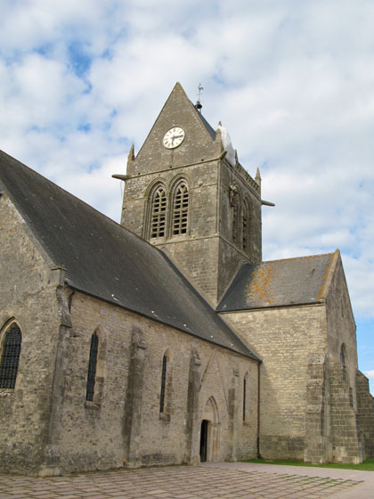 Sainte Mère Église   The church and its parachute memorial portrayed in the movie The Longest Day