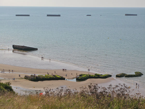 Remains of the Mulberry harbor in Arromanches, built only 3 days after D Day