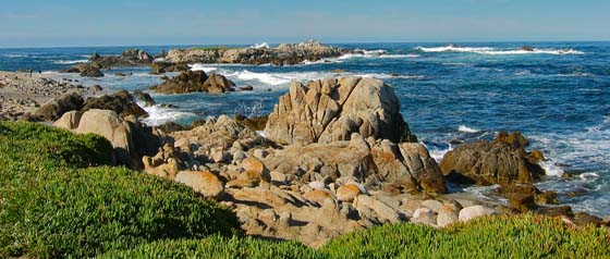 End of Ocean View Boulevard   and beginning of Sunset Drive in Pacific Grove
