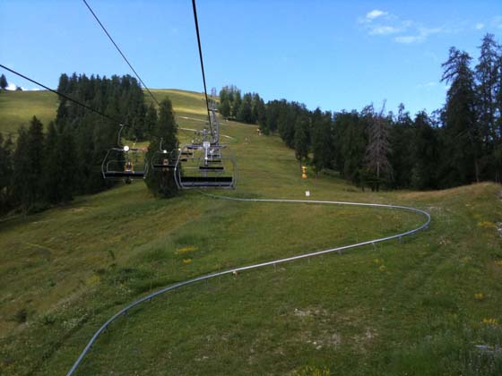 Ski lift to reach the top of the roller coaster
