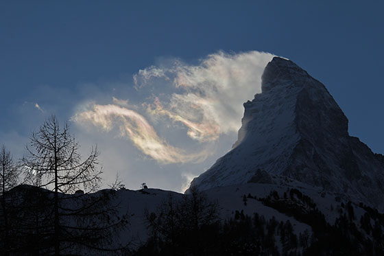 Sunset behind the Matterhorn on a windy evening
