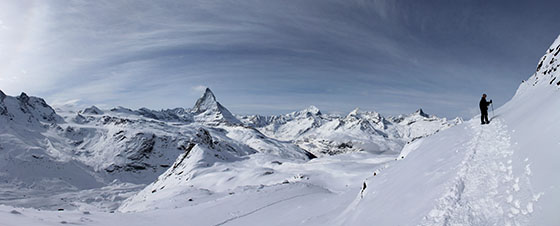 Snowshoeing up to Gornergrat